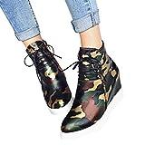 Tianwlio Frauen Herbst Winter Stiefel Schuhe Stiefeletten Boots Damen Mode Camouflage Stiefeletten Wedges Booties Schnürschuhe für Schuhe Armeegrün 35