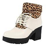 Selou Damen High Heel Martin Stiefel Stiefeletten mit Leopardenspitze Plüschschuhe Platz mit Damenschuhen Wasserdichte Plattform Kurze Stiefel Warme Schneestiefel