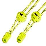 MASTER LACES – Elastische Schnürsenkel mit Schnellverschluss 120cm– optimal für Sport, Kinder, Sneaker und Wandern – einfaches System für Komfort - Schnellschnürsystem Lock (Neon Gelb)