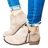 Hafiot Chelsea Boots Damen Ankle Stiefeletten Kurzschaft Wildleder Leder mit Absatz Kurze Reissverschluss 2.5cm Winter Stiefel Beige Grau 35-43 BG42