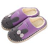 SAGUARO Winter Baumwolle Pantoffeln Plüsch Wärme Weiche Hausschuhe Kuschelige Home Rutschfeste Slippers mit Cartoon Unisex (38EU - Etikettengröße 38/39 , Violett)
