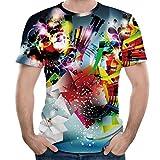 Herren 3D Druck Kurzarm T-Shirt Lässige Tops,Grün,M