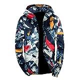 Xmiral Herren Jacke Outwear Winter Camouflage Print Pullover Langarm mit Kapuze Mantel (4XL,Blau)