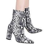 Tatis Shoes PU-Leder wies Schlangenhaut raue Stiletto-Motorradstiefel Auf Frauen Snakeskin Muster Toe Zip Dick Spitz Stiefel Schuhe Stiefel Hohe Schuhe Stiefel Sexy Mode