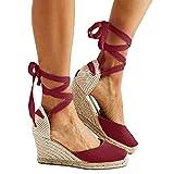 Minetom Damen Keile Schuhe Espadrilles Absätze Knöchel Gurt Fallen Sommer Sandalen Rot EU 38
