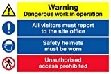 Viking Signs CC5387-A3L-AC Dangerous Work In Operation – report to Reception – Safety Helmets – Unauthorised Access Prohibited Kombinationsschild, 3 mm, Aluminium, Composite, 400 mm H x 300 mm B