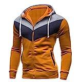 Xmiral Herren Herbst Winter Sweatshirt Lässige Reißverschluss Langarm Spleißen Hoodie Mantel (XXL,Braun)