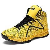 LANSEYAOJI Basketball Schuhe Herren Outdoor Anti-Rutsch Sneaker High-Top Sportschuhe Laufeschuhe Atmungsaktiv Ausbildung Turnschuhe Verschleißfeste Dämpfung Basketballstiefel,Gelb,EU39