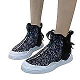 Tatis Shoes Rundkopf-Farbkontrastfarbene Nähte High-Top-Sneakers Flache Sportschuhe der Frauen leichte Seitliche Reißverschluss-weiche untere Freizeit-Turnschuhe Stilvoll und Komfortabel