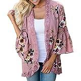 JUTOO Frauen Lace Floral Coat Bluse Kimono Jacke Strickjacke(Rosa,EU:48/CN:2XL)