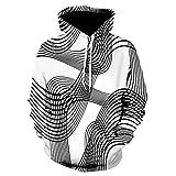Xmiral Hoodies Herren Sweatshirt 3D Digital Vortex Printed Langarm mit Kapuze Oberseiten-Bluse (M,D)