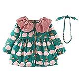 MEIbax Baby Mädchen Langarm Blumen Gedruckt Lace Coat Pullover Prinzessin Kleid + Stirnband Outfits Sets