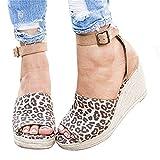 Shelers Damen Keile Schuhe Espadrilles Absätze Knöchel Gurt Fallen Sommer Sandalen (38 EU, Z-Leopard)