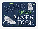 JIEKEIO Adventure Bath Mat, Youthful Design Find Your Adventure Quote Forest Elements and Sneakers, Plush Bathroom Decor Mat with Non Slip Backing, 23.6 W X 15.7 W Inches, Dark Blue Black Green