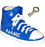 Unbekannt 3-D Effekt _ Spardose -  Schuh Sneaker / Sportschuh - Schuh - BLAU  - incl. Name - Schlüssel & Schloss - stabile Sparbüchse aus Porzellan / Keramik - Fußbal..