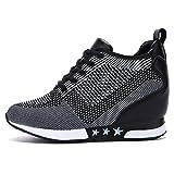 tqgold Damen Keilabsatz Sneakers Turnschuh Wedges Sportschuhe Freizeit Schuhe Erhöht Einlegesohle 8CM (Schwarz Grau,36 EU)