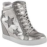 Damen High-Top-Sneaker mit Verstecktem Keilabsatz & Schnürung - Glitzer - Silberfarben Metallic - EUR 37