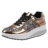 Damen Sneakers Sportschuhe, Sunday Frauen Freizeit Schuhen Art Mode Laufschuhe mit Absatz Plateauschuhe Keilabsatz Turnschuhe Herbst Outdoor Wandernschuhe Schnürhalbschuh