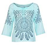 JUTOO Dawomen Printing Stand DREI Größen Bluse Top T-Shirt(Minzgrün,EU:52/CN:5XL)