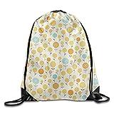 PGTry Lollipop Rucksack mit Kordelzug, 100% Polyester, leicht zu Waschen, Elegante Reisetasche, 40,6 x 35,6 cm für Unisex