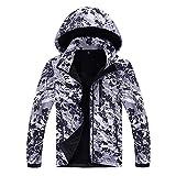 2018 KPPONG Männer Winter Fleece Innere Camouflage Soft Shell Outdoor Outwear Herren Hoodie Assault Jacke(Grau,XXXX-Large)