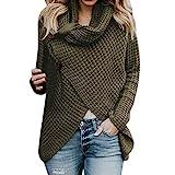 iHENGH Damen Herbst Winter Übergangs Warm Bequem Slim Mantel Lässig Stilvoll Frauen Langarm Solid Sweatshirt Pullover Tops Bluse Shirt(2XL,Grün)