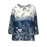 Damen T-Shirt, MYMYG Spitze Printed Langarm V-Ausschnitt Tops Lose T-Shirt Bluse(A8-Weiß,EU:38/CN-S)