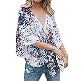 ESAILQ Damen edle rüschenbluse kaufen Hemdbluse für schwarzen Streifen Festliche Gepunktete Marineblau Sommer Weiss transparent aus Viskose grün (L,Weiß)