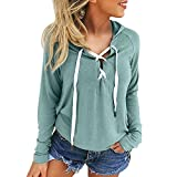SANFASHION Damen Hoodie Sweatshirt Lace Up Long Sleeve Crop Top Coat Sports Pullover Streetwear