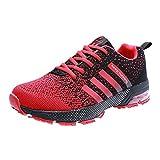 PAMRAY Herren Laufschuhe Damen Sneaker Trekking Running Fitness Air Sohle Low Top Mesh Turnschuhe 43 Rot