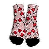 Füßlinge & Sneakersocken für Style Höhe Leistung mit 3D Druck Loving Heart Lollipop Socken für Super für Geschenk White
