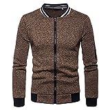 Herren Sweatshirt Pullover Strickjacke Sweatjacke Cardigan Top Bluse Herren Zipper Pocket Splicing Pullover Langarm Sweatshirt Tops Bluse Brown Large