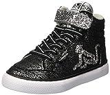 DrunknMunky Mädchen Boston Trend Hohe Sneaker, Schwarz (Black Silver B53), 28 EU