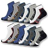 sockenkauf24 6 oder 12 Paar SPORT Sneaker Socken mit Frotteesohle verstärkt Herrensocken Sportsocken - 16215/20 (43-46, 12 Paar | Farbmix)