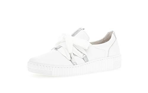 Gabor Damen Sneaker, Frauen Low-Top Sneaker,Best Fitting,Übergrößen,Optifit- Wechselfußbett, schnürschuh sportschuh,Weiss/Silber,40 EU / 6.5 UK
