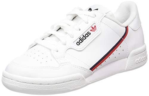 adidas Unisex-Kinder Continental 80 J Sneaker, Weiß (Footwear White/Scarlet/Collegiate Navy 0), 38 EU