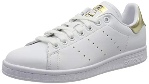 adidas Womens STAN SMITH W Sneaker, Cloud White/Cloud White/Gold Metallic, 38 2/3 EU