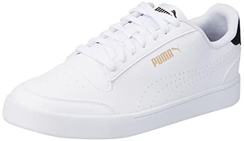 PUMA Unisex Shuffle PERF Sneaker, Weiß Schwarz Team Gold, 43 EU