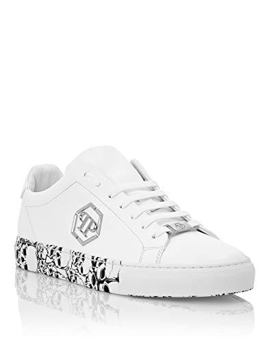 Philipp Plein Herren Lo-Top Sneakers Hexagon and Skull Weiß 41