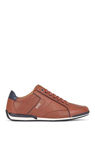 BOSS Herren Saturn Lowp Lowtop Sneakers aus genarbtem Leder mit Perforierungen Größe 43