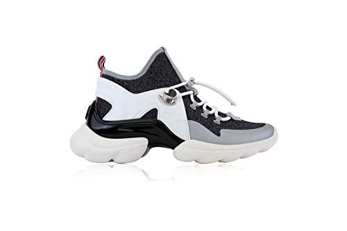 Moncler Thelma Damen-Sneakers Women's Shoes, Schwarz - Nero Grigio Bianco - Größe: 37.5 EU