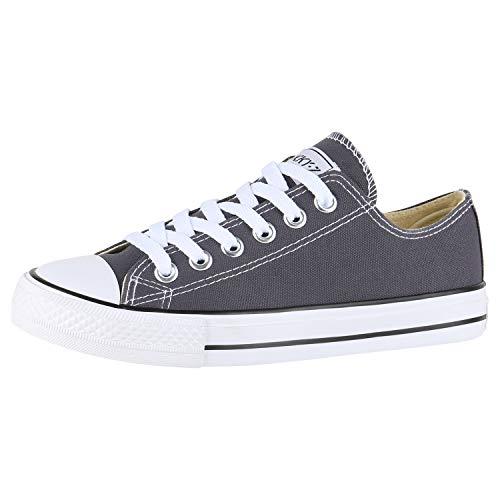 SCARPE VITA Damen Sneakers Freizeit Schuhe Stoffschuhe Sportschuhe 172910 Dunkelgrau Dunkelgrau Total 42
