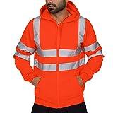 Yazidan Herren Einfarbig Reflektierende Kapuze Langarm Patchwork Sweater Top Hoodie für Sport Fitness Gym Training & Freizeit | Sportpullover - Sweatshirt - Kapuzenpulli - Pulli - Hoody