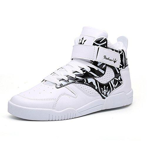 MUOU Herren Leder Freizeitschuhe Mode Turnschuhe High-Tops Für Männer Schuhe Weiß Sneaker Bequeme Flache Schuhe 42 EU Weit Weiß