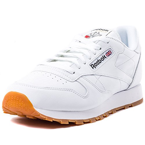 Reebok Herren Classic Leather Low-Top, Weiß (white/gum), 45.5 EU