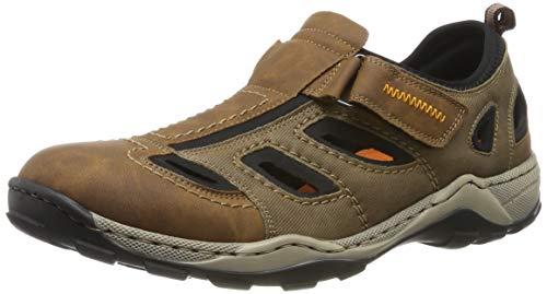 Rieker Herren Sandalen 08075, Männer Trekking Sandalen, Sport-Sandale geschlossener Zehenbereich Herr-en Man,Mandel/REH/schwarz / 24,43 EU / 9 UK