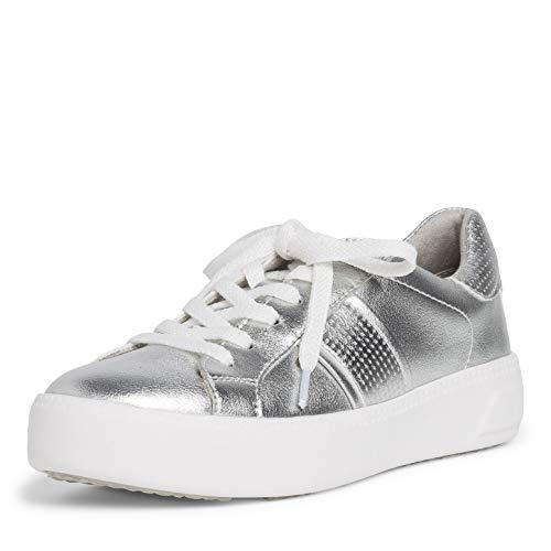 Tamaris Damen Low-Top Sneaker, Frauen Halbschuhe,Touch It-Fußbett,schnürer,Halbschuhe,straßenschuhe,Freizeitschuhe,Silver Uni,37 EU / 4 UK
