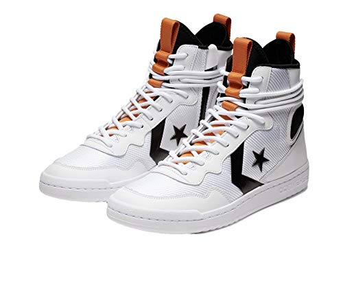 Converse Unisex Fastbreak Cascade Hi Top Sneaker (Herren 11 M US/Damen 12,5 M US, Weiß/Schwarz/Lagerfeuer-Orange)