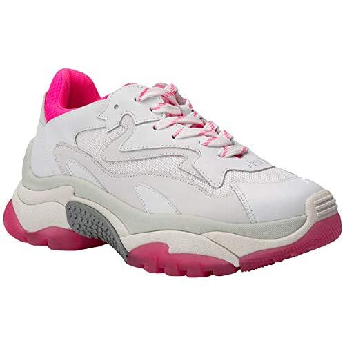 ASH Footwear Addict Weiß Rosa, Sneaker aus weißem Leder, Sneaker aus weißem Mesh, Sneaker für Damen 39 EU WeiB