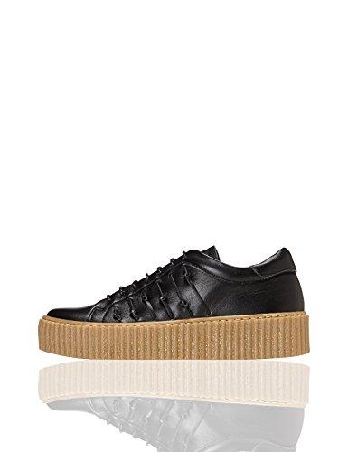 find. Plateau Schuhe Damen mit gerippter Plateausohle, Riemchendetails und Sneaker-Design, Schwarz (Black), 39 EU